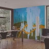 Moderne wandgestaltung in einem wohnzimmer - Wandmalerei wohnzimmer ...