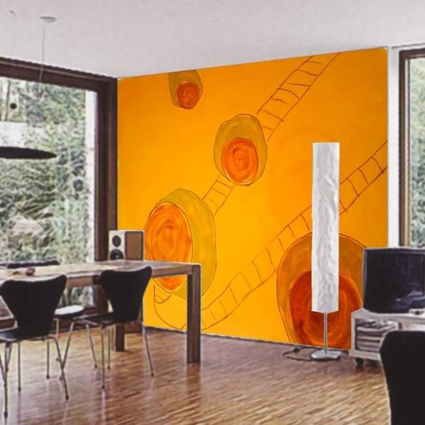 Wandgestaltung wohnzimmer orange - Wandmalerei wohnzimmer ...