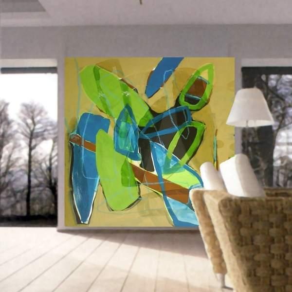 zeitgenössischen wandmalerei in einem wohnzimmer. uncategorized ...